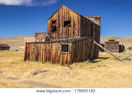 Propped Up Two Story Building In California Ghost Town