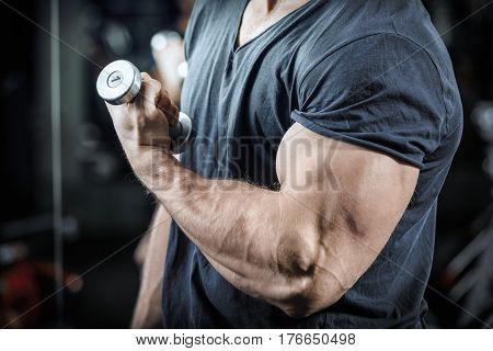 Hand of bodybuilder during training muscular hand of the strongman during the biceps pumping with low weight close up bodybuilder arm with little dumbbells strong man working with low weight dumbbells.