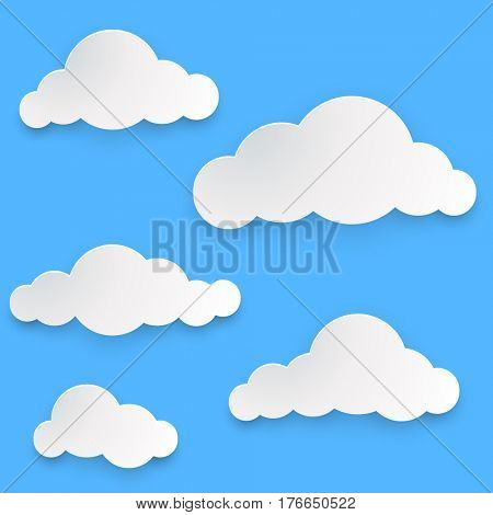 Paper clouds template isolated on blue background.