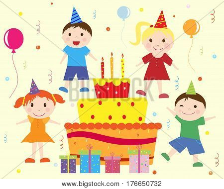 Birthday cake for children and gifts. Group of children dressed in holiday hats, balloons, boxes with gifts and festive cake vector illustration