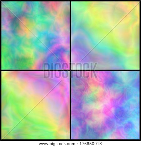 Set of Pastel Iridescent Backgrounds for Affiche Placard Poster Signboard. Collection of Textures with Holographic Effect. Multicolor Universal Abstraction.