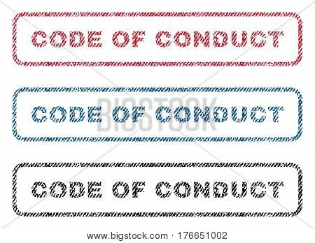 Code Of Conduct text textile seal stamp watermarks. Blue, red, black fabric vectorized texture. Vector tag inside rounded rectangular banner. Rubber sign with fiber textile structure.