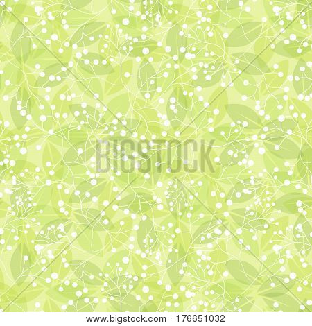 Green leaf spring wallpaper, elegant fresh foliage or greenery, vector illustration. Trendy colors of the year. Beautiful green pattern. Vector illustration