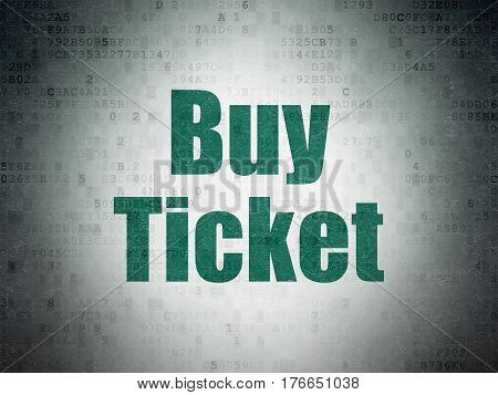 Tourism concept: Painted green word Buy Ticket on Digital Data Paper background