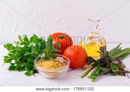 Ingredients For Tabbouleh Green Salad.  Vegetarian Concept