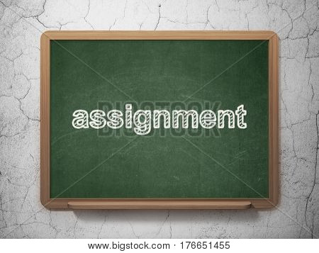 Law concept: text Assignment on Green chalkboard on grunge wall background, 3D rendering