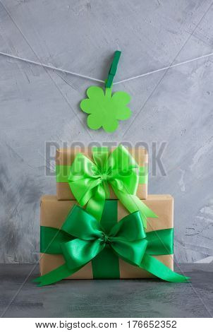 Gift Box With Green Bow Shamrock Decoration Grey Concrete Background