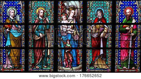 Stained Glass - Saints In Sablon Church, Brussels