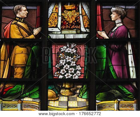 Stained Glass - King Albert I And Queen Elisabeth Of Belgium