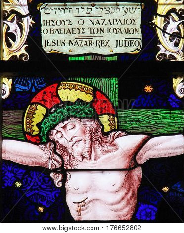 Jesus On The Cross - Stained Glass