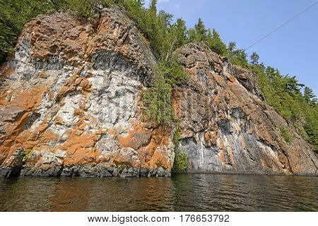 Colorful Rocks in the Wilderness on Ottertrack Lake in Quetico Provincial Park