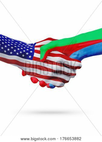 United States and Eritrea countries flags handshake concept cooperation partnership friendship business deal or sports competition isolated on white