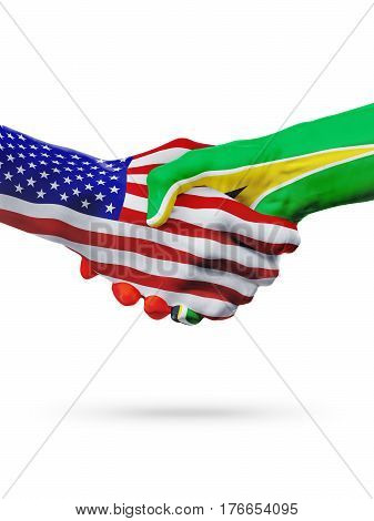 United States and Guyana countries flags handshake concept cooperation partnership friendship business deal or sports competition isolated on white