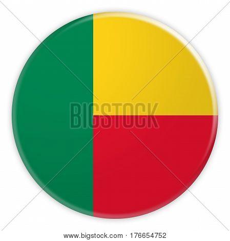 Benin Flag Button News Concept Badge 3d illustration on white background
