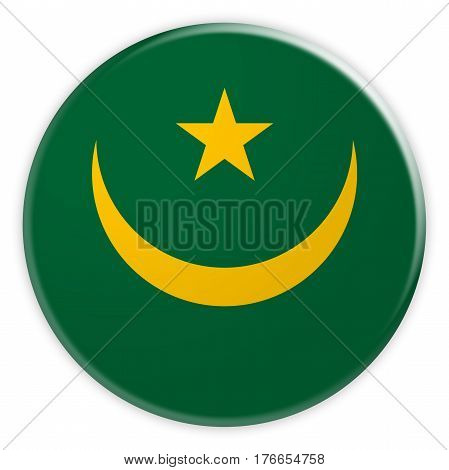 Mauritania Flag Button News Concept Badge 3d illustration on white background