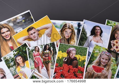 Photo printing products, a collage of printed portrait photos laid out on the table
