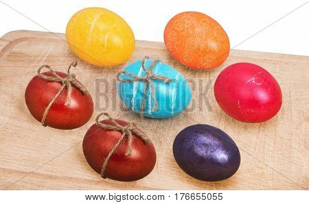 eggs on wood tray isolated on white background