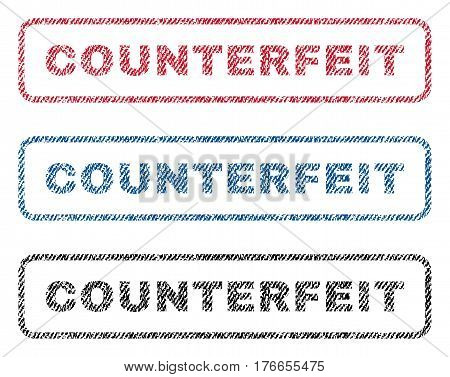 Counterfeit text textile seal stamp watermarks. Blue, red, black fabric vectorized texture. Vector tag inside rounded rectangular banner. Rubber sign with fiber textile structure.