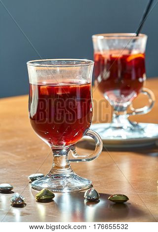 Hot mulled wine in a glass cup Christmas