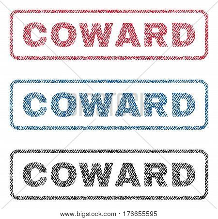 Coward text textile seal stamp watermarks. Blue, red, black fabric vectorized texture. Vector caption inside rounded rectangular banner. Rubber sign with fiber textile structure.