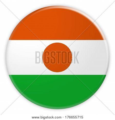 Niger Flag Button News Concept Badge 3d illustration on white background