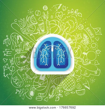 Lungs illustration - halth care sketch with sport icon and lung