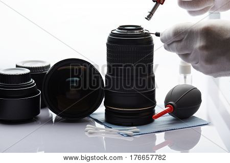 Closeup Of Fixing Camera Lens