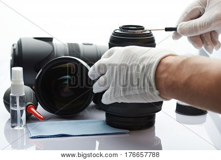 Closeup Of Repairing Photography Lens