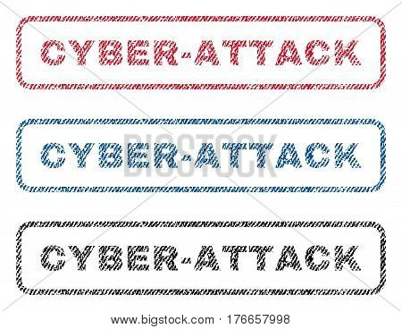 Cyber-Attack text textile seal stamp watermarks. Blue, red, black fabric vectorized texture. Vector tag inside rounded rectangular banner. Rubber emblem with fiber textile structure.