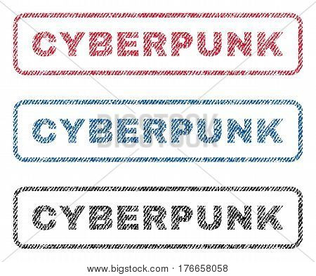 Cyberpunk text textile seal stamp watermarks. Blue, red, black fabric vectorized texture. Vector caption inside rounded rectangular shape. Rubber sign with fiber textile structure.