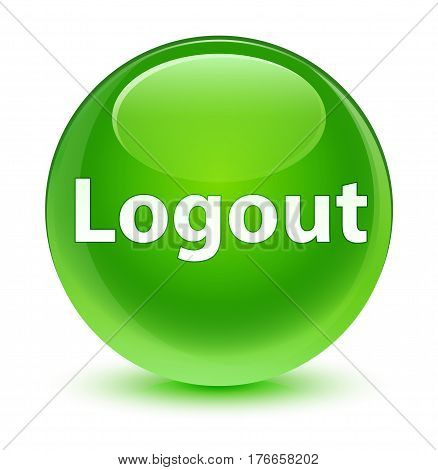 Logout Glassy Green Round Button
