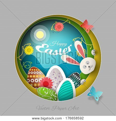 Vector multilayer paper art carve for Easter with peeping bunny eggs flowers butterflies shadows and text on the gradient gray yellow and green background.