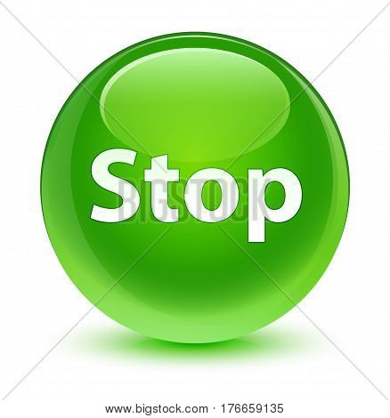 Stop Glassy Green Round Button