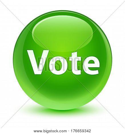 Vote Glassy Green Round Button