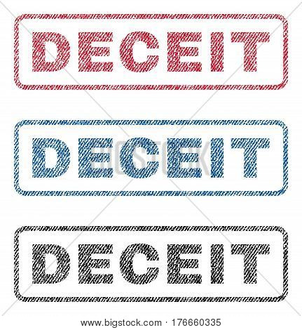 Deceit text textile seal stamp watermarks. Blue, red, black fabric vectorized texture. Vector caption inside rounded rectangular shape. Rubber sticker with fiber textile structure.