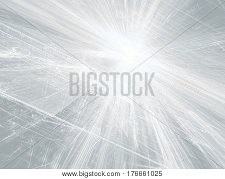 Surreal white background - abstract computer-generated image. Digital art: surface with chaotic lines and curls, horizon and light dot like sun or star. Sci-fi, data science or technology backdrop.