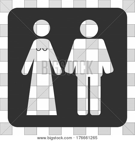 Married Groom And Bribe interface icon. Vector pictograph style is a flat symbol perforation centered in a rounded square shape, gray color.