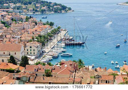 The Port of Hvar taken from the Fortress - Hvar, Croatia