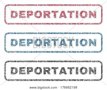 Deportation text textile seal stamp watermarks. Blue, red, black fabric vectorized texture. Vector caption inside rounded rectangular shape. Rubber sign with fiber textile structure.
