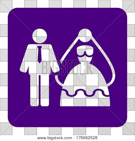 Bride And Groom square icon. Vector pictograph style is a flat symbol hole in a rounded square shape, indigo blue color.