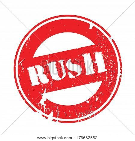 Rush rubber stamp. Grunge design with dust scratches. Effects can be easily removed for a clean, crisp look. Color is easily changed.