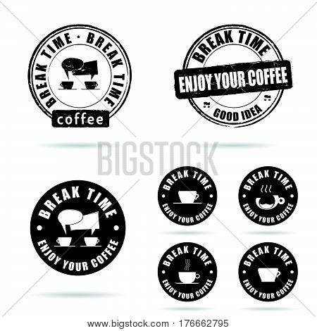 Coffee Break Icon With Grunge Rubber Set Illustration