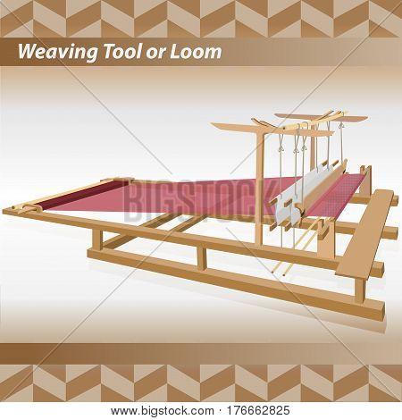Weaving tool or Loom vintage vector illustration