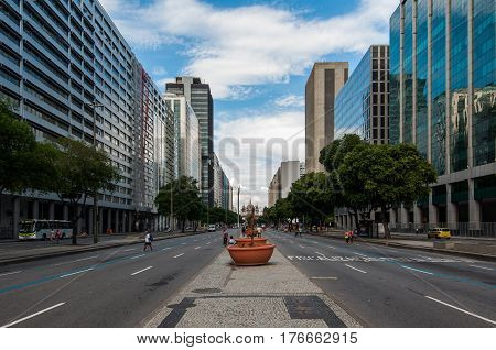 Rio de Janeiro, Brazil - March 4, 2017: Presidente Vargas avenue in the city center is one of the most important streets of Rio de Janeiro.