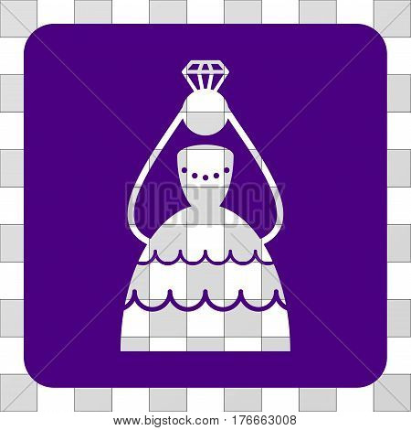 Crowned Bride interface icon. Vector pictogram style is a flat symbol perforation centered in a rounded square shape, indigo blue color.