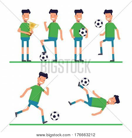 Soccer sport athletes, football goalkeeper playing, kicking, training and practicing football. Flat character isolated on white background. Vector, illustration