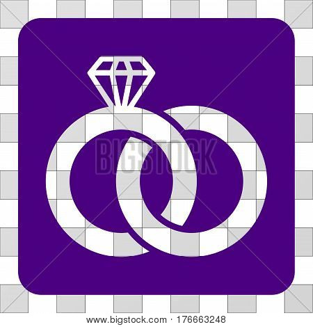 Diamond Wedding Rings toolbar icon. Vector pictogram style is a flat symbol hole centered in a rounded square shape, indigo blue color.