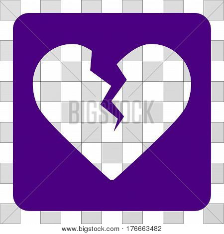 Divorce Heart interface icon. Vector pictograph style is a flat symbol hole centered in a rounded square shape, indigo blue color.