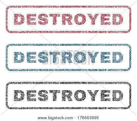 Destroyed text textile seal stamp watermarks. Blue, red, black fabric vectorized texture. Vector caption inside rounded rectangular banner. Rubber emblem with fiber textile structure.