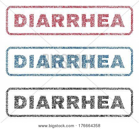 Diarrhea text textile seal stamp watermarks. Blue, red, black fabric vectorized texture. Vector caption inside rounded rectangular shape. Rubber sign with fiber textile structure.